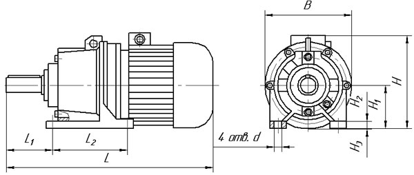 Габаритные и присоединительные размеры планетарных мотор редукторов 3МП на лапах