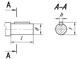 Размеры цилиндрических валов планетарных мотор-редукторов 3МП