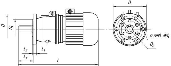 Габаритные и присоединительные размеры планетарных мотор редукторов 3МП на фланце